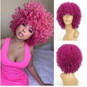 Pink Curly Beauty Lace Front Wig
